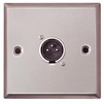 Silver Metal AV Wall plate With 1x 3 Pin XLR Connector