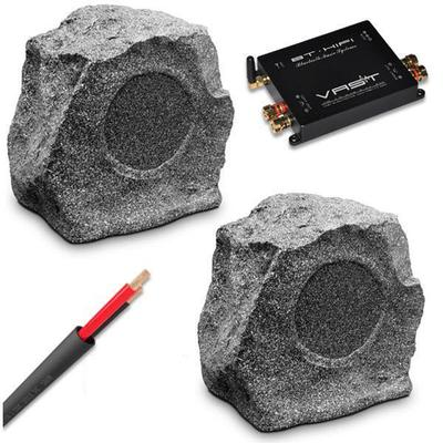 Outdoor Rock Speakers and Bluetooth Amplifier with 30M Cable
