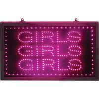 Large Pink Static Girls, Girls, Girls LED Sign