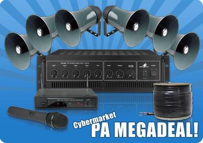 PA Package 3 - 6 Horn Speakers, 240W Amp, Wireless Microphone and 100m Cable - MEGADEAL