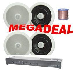 "2,4,6 Or 8 Pairs Of 6.25"" Pro Ceiling Speakers, 8-Zone Switch & Cable"