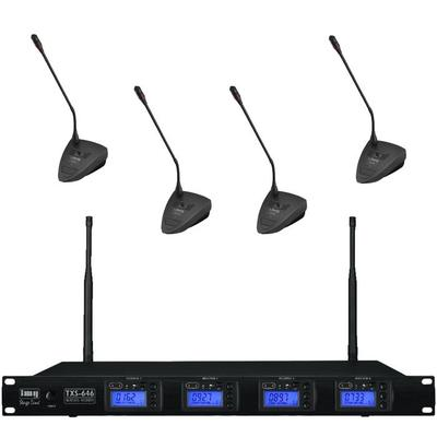 Quad Wireless Microphone System with 4 x Paging Microphones