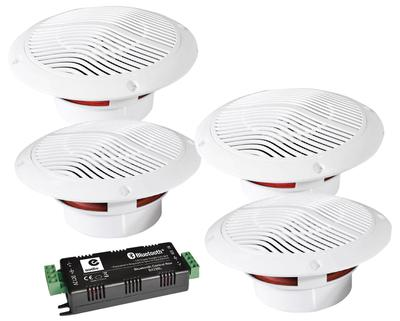 "E-Audio 4 x 5.25"" Bluetooth Ceiling Speaker Kit With Cable & Amp"