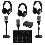 Tri Mic Podast Kit With USB Mixer For Extra Input