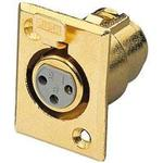 Gold Plated 3 Pin XLR Socket Chassis Connector