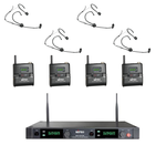 MIPRO Quad Wireless Microphone System With 4 X Headset Mics (Black)