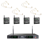 MIPRO Quad Wireless Microphone System With 4 X Headset Mics (Skin Coloured)