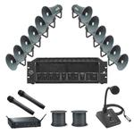 PA Package 5 - 12 Horn Speakers, 480W Amp, 2 x Wireless Mics, Paging Mic & 200M Cable