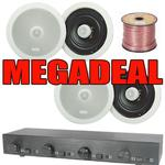 "2 Or 4 Pairs Of 6.25"" Ceiling Speakers 4-Zone Volume Control & 100m"