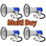 Multi Buy: 3 x 25W Megaphone With Siren Fire Service Approved - NEXT DAY DELIVERY