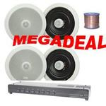 "2,4,6 or 8 Pairs of 8"" Pro Ceiling Speakers, 8-Zone Speaker Switch & 100m Hi-Grade Cable"